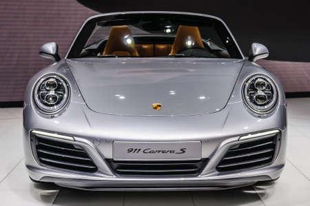 carrera: FRANKFURT - SEPT 2015: Porsche 911 991 Carrera S cabrio presented at IAA International Motor Show on September 20, 2015 in Frankfurt, Germany