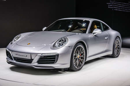 FRANKFURT - SEPT 2015: Porsche 911 991 Carrera S coupe presented at IAA International Motor Show on September 20, 2015 in Frankfurt, Germany Stok Fotoğraf - 46438247