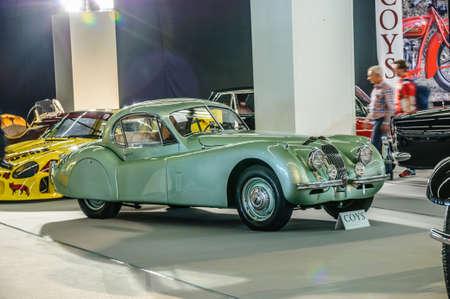 historical events: FRANKFURT - SEPT 2015: Jaguar XK-120 presented at IAA International Motor Show on September 20, 2015 in Frankfurt, Germany