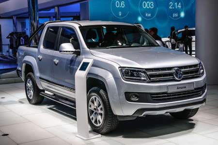 vw: FRANKFURT - SEPT 2015: Volkswagen VW Amarok presented at IAA International Motor Show on September 20, 2015 in Frankfurt, Germany