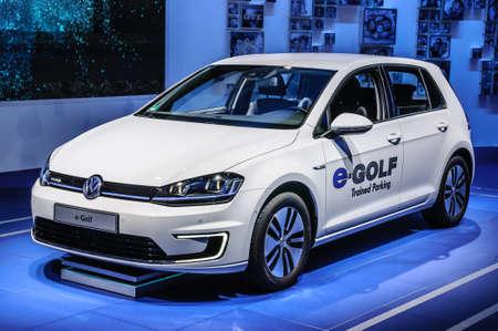 vw: FRANKFURT - SEPT 2015: Volkswagen VW e-Golf presented at IAA International Motor Show on September 20, 2015 in Frankfurt, Germany