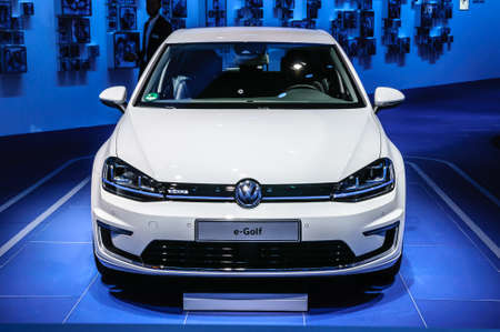 vw: FRANKFURT - SEPT 2015: Volkswagen VW e-Golf presented at IAA International Motor Show on September 20, 2015 in Frankfurt, Germany