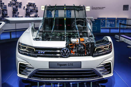 vw: FRANKFURT - SEPT 2015: Volkswagen VW Tiguan GTE presented at IAA International Motor Show on September 20, 2015 in Frankfurt, Germany Editorial