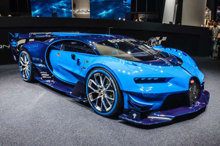 FRANKFURT - SEPT 2015: Bugatti Chiron Vision Gran Turismo presented at IAA International Motor Show on September 20, 2015 in Frankfurt, Germany