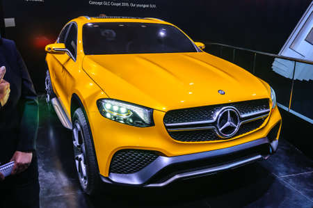 coupe: FRANKFURT - SEPT 2015: Mercedes-Benz Concept GLC Coupe presented at IAA International Motor Show on September 20, 2015 in Frankfurt, Germany Editorial