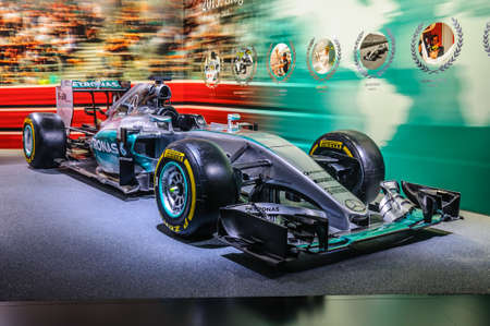 formula one: FRANKFURT - SEPT 2015: Mercedes-Benz Formula One F1 presented at IAA International Motor Show on September 20, 2015 in Frankfurt, Germany Editorial