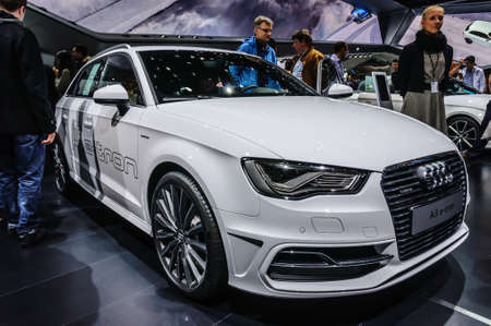 a3: FRANKFURT - SEPT 2015: Audi A3 e-tron presented at IAA International Motor Show on September 20, 2015 in Frankfurt, Germany