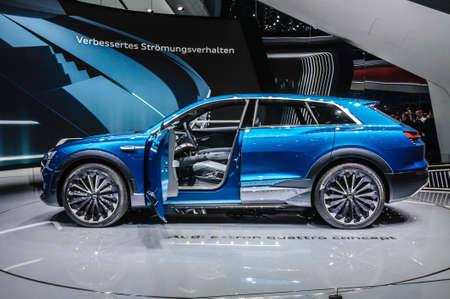 iaa: FRANKFURT - SEPT 2015: Audi E-Tron Quattro Concept presented at IAA International Motor Show on September 20, 2015 in Frankfurt, Germany Editorial