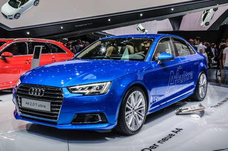 motorshow: FRANKFURT - SEPT 2015: Audi A4 2.0 T ultra presented at IAA International Motor Show on September 20, 2015 in Frankfurt, Germany
