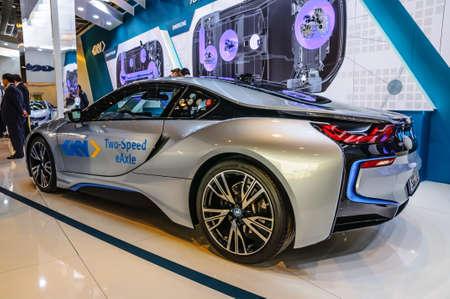 iaa: FRANKFURT - SEPT 2015: BMW i8 presented at IAA International Motor Show on September 20, 2015 in Frankfurt, Germany Editorial