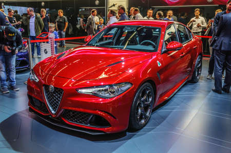 FRANKFURT - SEPT 2015: Alfa Romeo Giulia presented at IAA International Motor Show on September 20, 2015 in Frankfurt, Germany Stok Fotoğraf - 46710590