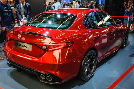 motorshow: FRANKFURT - SEPT 2015: Alfa Romeo Giulia presented at IAA International Motor Show on September 20, 2015 in Frankfurt, Germany Editorial