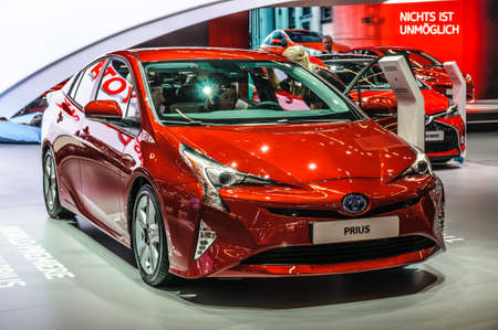 FRANKFURT - SEPT 2015: Toyta Prius presented at IAA International Motor Show on September 20, 2015 in Frankfurt, Germany Editorial
