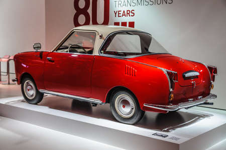 iaa: FRANKFURT - SEPT 2015: red retro car presented at IAA International Motor Show on September 20, 2015 in Frankfurt, Germany