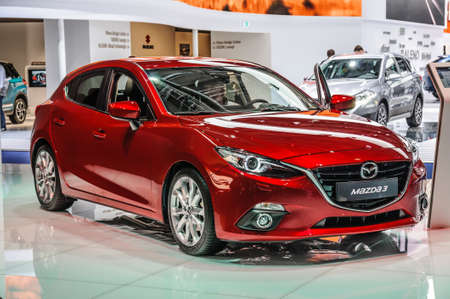 motorshow: FRANKFURT - SEPT 2015: Mazda3 presented at IAA International Motor Show on September 20, 2015 in Frankfurt, Germany