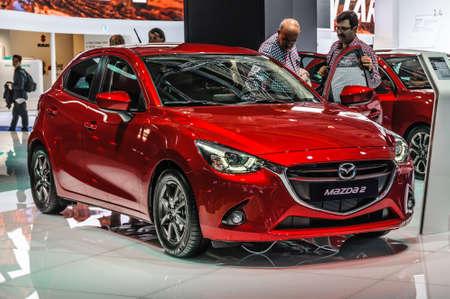 iaa: FRANKFURT - SEPT 2015: Mazda2 presented at IAA International Motor Show on September 20, 2015 in Frankfurt, Germany Editorial