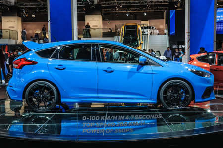 motor show: FRANKFURT - SEPT 2015: Ford Focus RS presented at IAA International Motor Show on September 20, 2015 in Frankfurt, Germany