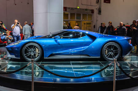 supercar: FRANKFURT - SEPT 2015: Ford GT supercar concept presented at IAA International Motor Show on September 20, 2015 in Frankfurt, Germany