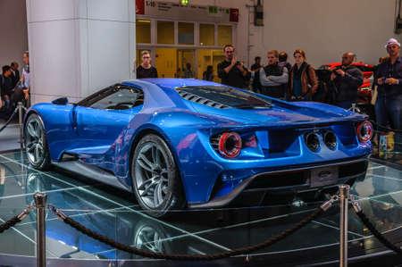 iaa: FRANKFURT - SEPT 2015: Ford GT supercar concept presented at IAA International Motor Show on September 20, 2015 in Frankfurt, Germany