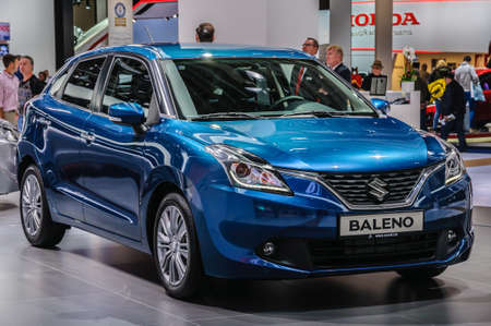 FRANKFURT - SEPT 2015: Suzuki Baleno presented at IAA International Motor Show on September 20, 2015 in Frankfurt, Germany Stok Fotoğraf - 47025437