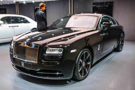 wraith: FRANKFURT - SEPT 2015: Rolls-Royce Wraith presented at IAA International Motor Show on September 20, 2015 in Frankfurt, Germany