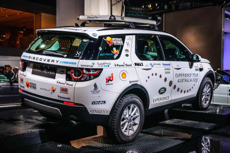motor show: FRANKFURT - SEPT 2015: Land Rover Discovery presented at IAA International Motor Show on September 20, 2015 in Frankfurt, Germany