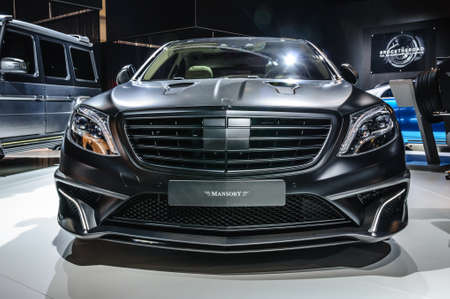 FRANKFURT - SEPT 2015: MANSORY BLACK EDITION Mercedes S Class AMG S63 presented at IAA International Motor Show on September 20, 2015 in Frankfurt, Germany