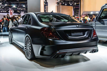 20 s: FRANKFURT - SEPT 2015: MANSORY BLACK EDITION Mercedes S Class AMG S63 presented at IAA International Motor Show on September 20, 2015 in Frankfurt, Germany