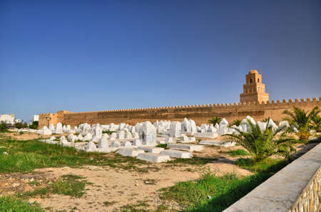 kairouan: Ancient muslim cemetery near Great Mosque in Kairouan, Sahara Desert, Tunisia, Africa, HDR