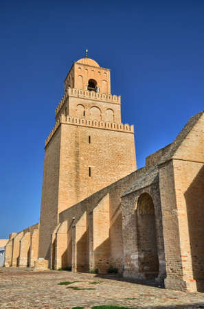 kairouan: Ancient Great Mosque in Kairouan in Sahara Desert, Tunisia, Africa, HDR