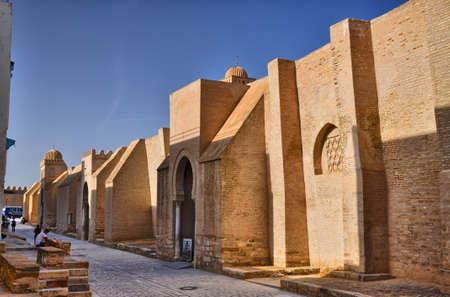 kairouan: KAIROUAN, TUNISIA - OCT 2014: Ancient Great Mosque on October 8, 2014 in Kairouan, Tunisia