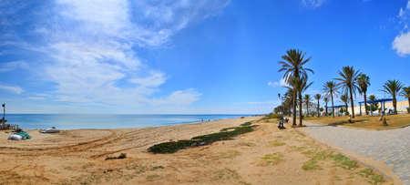 Sunny beach, Hammamet in Tunisia near Mediterranean Sea, Africa, HDR Panorama