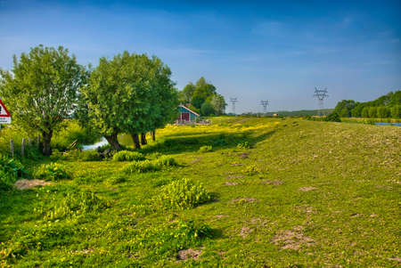 holland landscape: Beautiful farm landscape with trees and grass fields, Amsterdam, Holland, Netherlands, HDR Stock Photo