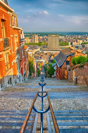 liege: View over montagne de beuren stairway with red brick houses in Liege, Belgium, Benelux, HDR