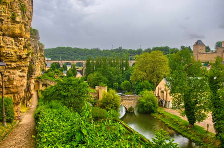 benelux: River with houses and bridges in Luxembourg, Benelux, HDR