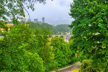 benelux: Green trees and bridge in Luxembourg, Benelux, HDR