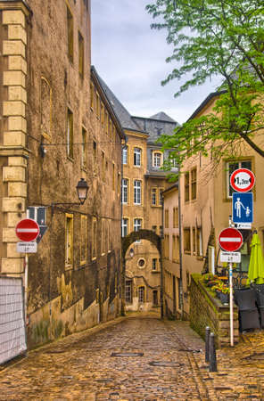 benelux: Narrow medieval street in Luxembourg, Benelux, HDR