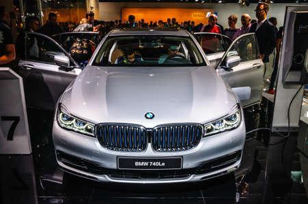 motorshow: FRANKFURT - SEPT 2015: BMW 740Le presented at IAA International Motor Show on September 20, 2015 in Frankfurt, Germany