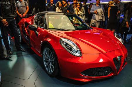 iaa: FRANKFURT - SEPT 2015: Alfa Romeo 4C presented at IAA International Motor Show on September 20, 2015 in Frankfurt, Germany