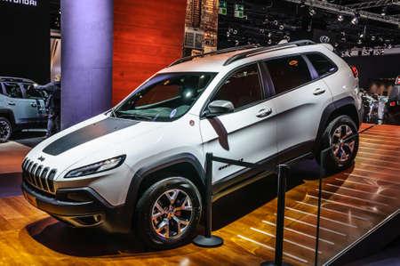 cherokee: FRANKFURT - SEPT 2015: Jeep Cherokee presented at IAA International Motor Show on September 20, 2015 in Frankfurt, Germany Editorial