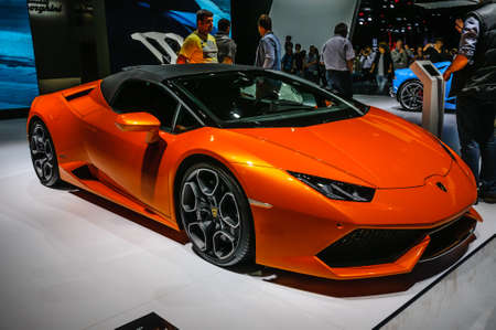 lp: FRANKFURT - SEPT 2015: Lamborghini HURACAN LP 610-4 SPYDER presented at IAA International Motor Show on September 20, 2015 in Frankfurt, Germany