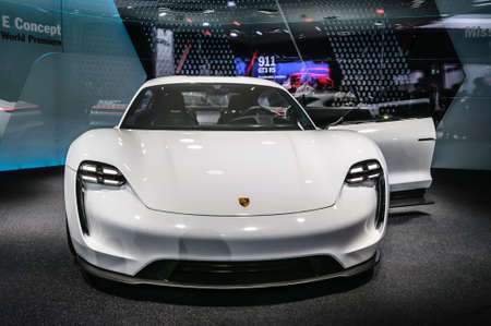 motor show: FRANKFURT - SEPT 2015: Porsche Mission E Concept presented at IAA International Motor Show on September 20, 2015 in Frankfurt, Germany