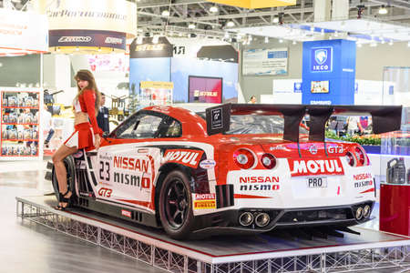 MOSCOW - AUG 2016: Nissan GT-R Nismo GT3 presented at MIAS Moscow International Automobile Salon on August 20, 2016 in Moscow, Russia.