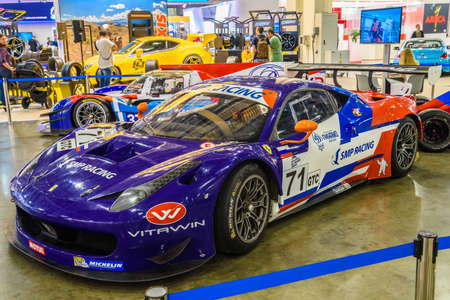 autoshow: MOSCOW - AUG 2016: Ferrari F458 Italia SMP Racing presented at MIAS Moscow International Automobile Salon on August 20, 2016 in Moscow, Russia.