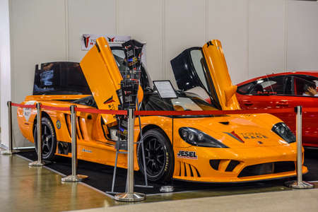 MOSCOW - AUG 2016: Saleen S7 BiTurbo presented at MIAS Moscow International Automobile Salon on August 20, 2016 in Moscow, Russia.