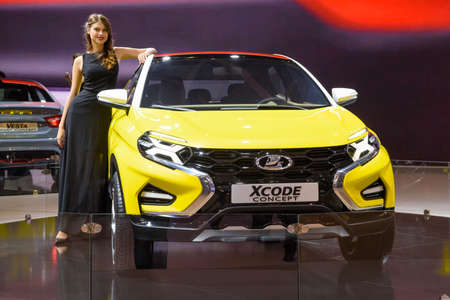 MOSCOW - AUG 2016: VAZ Lada XCode Concept presented at MIAS Moscow International Automobile Salon on August 20, 2016 in Moscow, Russia.