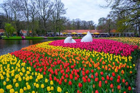 Drop-Denkmal mit bunten Narzissen und Tulpen, Keukenhof Park, Lisse in den Niederlanden. Lizenzfreie Bilder