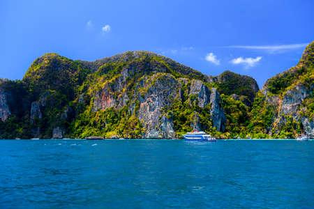 Ferries and rocks, Phi Phi Don island, Andaman sea, Krabi, Thailand