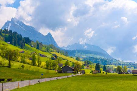 Countryside road in village, Alt Sankt Johann, Sankt Gallen, Switzerland