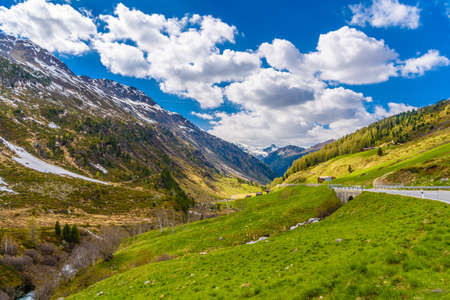 Beautiful Alps mountains with clody sky, Fluelapass, Davos,  Graubuenden Switzerland Imagens